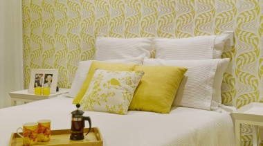 Bedroom - bed frame | bed sheet | bed frame, bed sheet, bedroom, cushion, duvet cover, furniture, home, interior design, pillow, product, room, suite, textile, wall, wallpaper, yellow, gray, orange