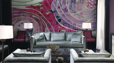 Vintage, antique, and modern pieces creatively express a ceiling, couch, furniture, home, interior design, living room, purple, room, suite, textile, wall, wallpaper, black, gray