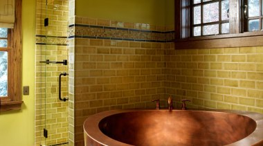 Fully Skirted Copper Japanese Tub with Built In bathroom, ceiling, estate, floor, flooring, home, interior design, real estate, room, tile, wall, brown