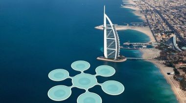 World's First Underwater Tennis Complex 07 - World's aerial photography, artificial island, atmosphere of earth, bird's eye view, daytime, energy, fixed link, sea, sky, water, water resources, blue