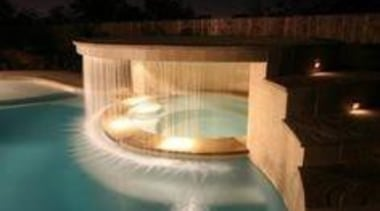 A Waterfall in the Hot Tub - A architecture, landscape lighting, light, lighting, property, reflection, swimming pool, water, water feature, black