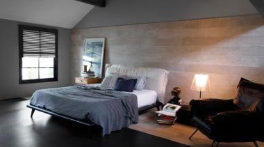 Concreto Cinza 1200x200mm porcelain tiles. - Concreto Cinza architecture, bed, bed frame, bedroom, ceiling, daylighting, floor, furniture, home, interior design, lighting, mattress, room, wall, wood, black, gray