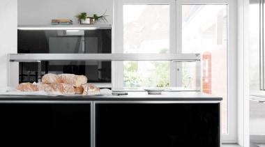 Modern Black and White KitchenFor more information, please cabinetry, countertop, cuisine classique, home appliance, interior design, kitchen, kitchen appliance, kitchen stove, major appliance, refrigerator, white, black