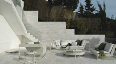 Stone D quarzite bianca exterior floor tiles - angle, architecture, chair, couch, furniture, interior design, outdoor furniture, patio, product design, property, sunlounger, table, wall, gray, black