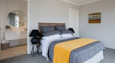 Landmark Homes Waiata Design Master Bedroom - Landmark bed, bed frame, bedroom, ceiling, floor, home, property, real estate, room, wall, gray
