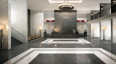 Calacatta and grey stone foyer interior floor tiles floor, flooring, interior design, lobby, gray