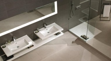 Basaltina and tortura bathroom tiles aerial - Natural bathroom, bathroom sink, floor, plumbing fixture, product design, sink, tap, tile, gray, black