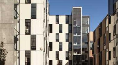 Carlaw Park Student Village in Auckland accommodates students apartment, architecture, building, city, condominium, facade, metropolis, mixed use, neighbourhood, residential area, sky, tower block, town, urban design, black, blue