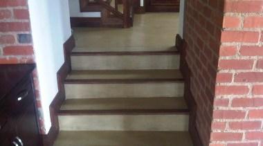 Colour hardener  26 - Colour_hardener__26 - brick brick, floor, flooring, handrail, hardwood, laminate flooring, stairs, wall, wood, wood flooring, wood stain, black, gray