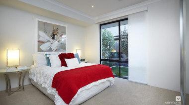 Bedroom design. - The Montrose Display Home - bedroom, ceiling, estate, home, house, interior design, property, real estate, room, window, gray