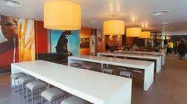 Tables featuring Caesarstone Snow. - Tables featuring Caesarstone furniture, interior design, restaurant, table, gray, brown