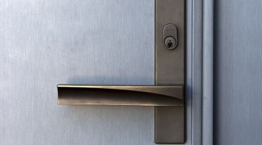 Lodge at the Hills - Lodge at the door handle, hardware accessory, lock, product design, gray