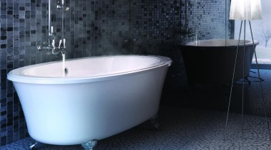 Always a classic, this claw-foot tub can be bathroom, bathtub, ceramic, floor, interior design, plumbing fixture, tap, tile, black