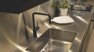 Nivito RH-320 black matte kitchen mixer - Nivito countertop, kitchen, plumbing fixture, sink, tap, brown, black