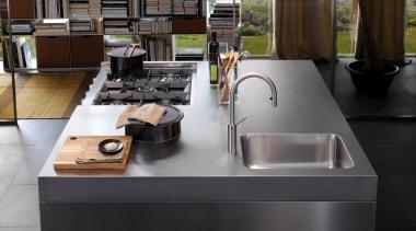 Italia Kitchen designed by Antonio Citterio for Arclinea countertop, furniture, kitchen, product design, sink, table, black, gray