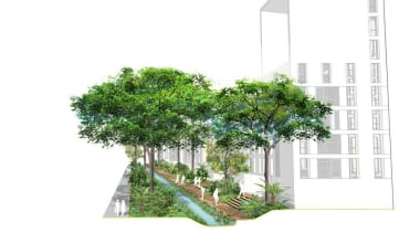 British landscape architecture firm Grant Associates working with home, house, houseplant, plant, property, residential area, tree, urban design, white