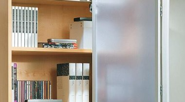 WingLine 780 folding door fitting used in the bookcase, cabinetry, furniture, product, shelf, shelving, gray