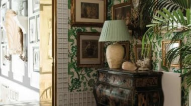 The Magnolia motif first appeared in Westwood's Autumn green, home, interior design, living room, room, wall, window, brown