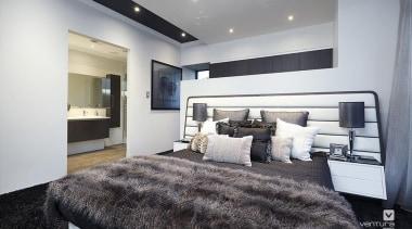 Master ensuite design. - The Montrose Display Home bed frame, bedroom, ceiling, floor, home, interior design, property, real estate, room, wall, gray, white