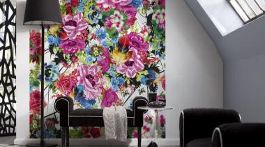 Romantic Pop Interieur - Italian Color Range - flower, interior design, modern art, purple, wall, wallpaper, gray, white