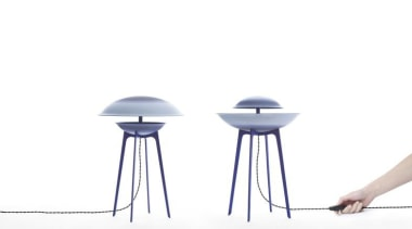Dessus-Dessous and Dessous-dessus are two lamps made of chair, furniture, product, product design, stool, table, white