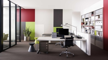 Melteca can be used for wall linings - angle, desk, furniture, interior design, office, product, shelving, white, black