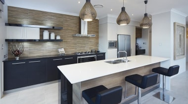 Kitchen design. - The Sanctuary Display Home - countertop, cuisine classique, interior design, kitchen, real estate, room, gray