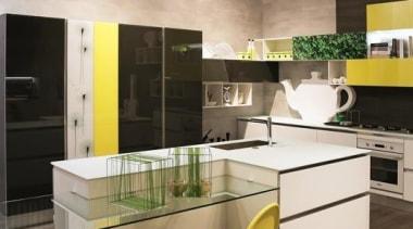 Sleek Kitchen Design - Sleek Kitchen Design - architecture, ceiling, floor, flooring, furniture, interior design, kitchen, table, wall, gray, brown, black