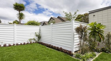 Simpler. Faster. Proven Weathertight. - A-lign Fencing - backyard, facade, fence, garden, grass, home, home fencing, house, landscaping, lawn, outdoor structure, property, real estate, residential area, siding, yard, white