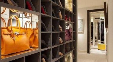 WALK IN CLOSET - Closet - walk in bookcase, boutique, closet, furniture, interior design, room, shelf, shelving, orange, black