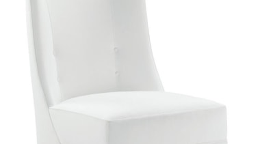 """My natural inclination for grandeur prompts me to angle, chair, club chair, furniture, product, product design, white"