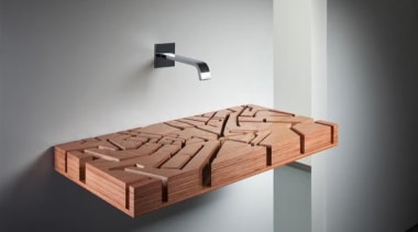 A water map - Sink made from wood furniture, product design, table, wood, gray