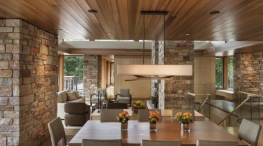 This new house, designed by Charles R Stinson ceiling, dining room, interior design, living room, real estate, brown