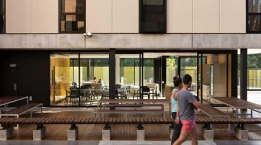 Carlaw Park Student Village in Auckland accommodates students building, condominium, gray, black