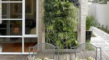 Living Wall - Vertical Garden - balcony | balcony, courtyard, home, outdoor structure, patio, plant, property, table, gray