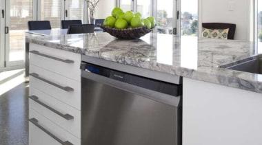 Stone benchtop - Kitchen - cabinetry | countertop cabinetry, countertop, cuisine classique, home appliance, interior design, kitchen, white, gray