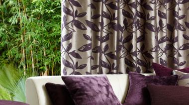 Komata - couch | curtain | decor | couch, curtain, decor, home, interior design, living room, purple, textile, tree, wall, window, window covering, window treatment, black