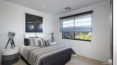 Bedroom design. - The Montrose Display Home - bed frame, bedroom, ceiling, home, interior design, property, real estate, room, window, gray