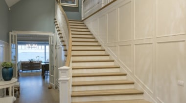 Stairway - architecture | baluster | ceiling | architecture, baluster, ceiling, daylighting, floor, flooring, handrail, hardwood, home, interior design, laminate flooring, lobby, stairs, wall, wood, wood flooring, orange, gray, brown