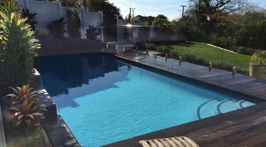 Silver Award recipient for Residential Swimming Pools under backyard, estate, house, leisure, outdoor structure, property, real estate, reflection, resort, swimming pool, water, black