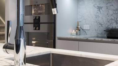 IMGL6960-18 - George Street, Apartment living - bathroom bathroom, countertop, floor, flooring, interior design, kitchen, plumbing fixture, product design, room, sink, tap, tile, gray, white