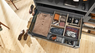 AMBIA-LINE inner dividing system – organization at its floor, flooring, furniture, table, wood, orange