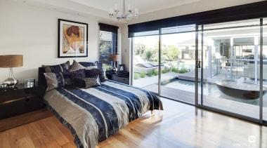 Master ensuite design. - The Sentosa Display Home bed frame, bedroom, ceiling, floor, interior design, property, real estate, room, window, gray