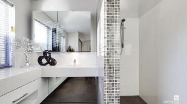 Ensuite design. - The Haven Display Home - architecture, bathroom, floor, flooring, interior design, property, room, tile, gray