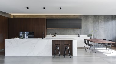 Minosa Design, SydneySee the full storyThis Kitchen architecture, countertop, floor, furniture, house, interior design, kitchen, table, gray