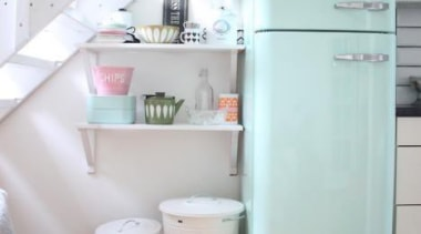 Splash of pastel color with Fab Fridge in bathroom, bathroom accessory, floor, plumbing fixture, product, product design, room, sink, tap, toilet, toilet seat, white