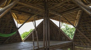 Blooming Bamboo home, Hanoi, VietnamH&P Architects roof, structure, wood, brown, black