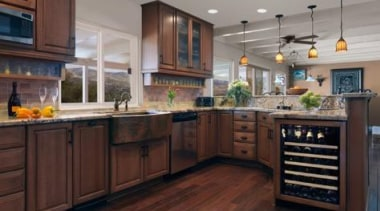My clients live out on a ranch in cabinetry, countertop, cuisine classique, flooring, hardwood, interior design, kitchen, room, wood flooring, gray, red