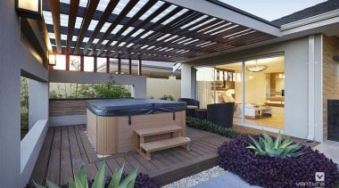 Outdoor spa sits outside, opposite the master suite. backyard, courtyard, home, house, outdoor structure, patio, property, real estate, roof, gray