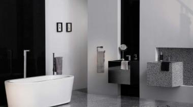 Bathroom sink featuring Caesarstone Mosaici Carbone. bathroom, bathroom accessory, bathroom cabinet, bidet, black and white, ceramic, floor, interior design, plumbing fixture, product, product design, room, tap, tile, gray, black